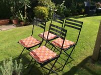 Four Folding Garden Chairs with cushions