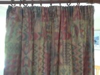 duvet cover, curtains, lampshade and table lamps