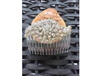 Handmade Bridal crystal hair comb clear Cluster