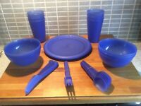 Picnic / Camping BBQ Set of 6 Plates Bowls Beakers Knives Forks Spoons Carry Bag Blue Very good co