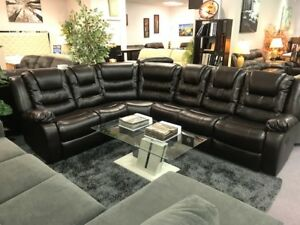 AIR LEATHER RECLINING SECTIONAL FLOOR MODEL CLEARANCE