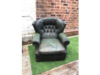 Green leather chesterfield chair