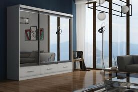 BEST SELLING BRAND NEW FULL MIRROR MARGO SLIDING DOORS WARDROBE IN DIFFERENT SIZES