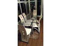 Modern Glass Dining Room Table White Leather 6 Chairs