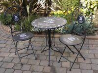 Stunning NEW Bistro Metal Table & 2 Chairs Garden Black