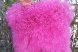 Luxurious 100% Mongolian long curly wool sheepskin cushion