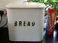 Vintage Enamel Bread Bin White with Red Trim