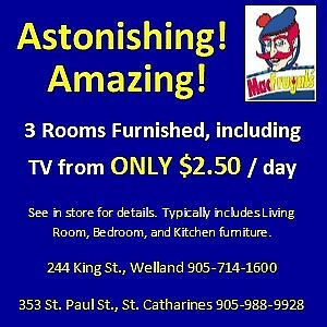 Furnish 3 Rooms From Only $2.50 per day