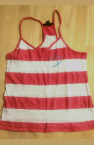 SEXY VINTAGE FOREVER 21 WOMENS STRIPED ORANGE / WHITE BACKLESS S