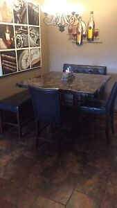 Dining Espresso Pub Table w/Benches & Chairs Kitchen