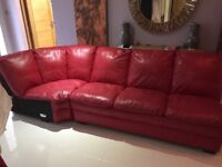 FREE - Red Leather Sofa Sections - no end pieces