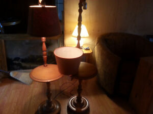 Two Wooden Side Table and Lamp Stands