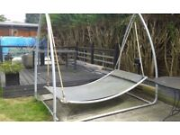 Double Garden Grey Swing Bed With Pillow Grey Metal Frame OFFERS