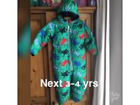 Boys next snowsuit worn once 3-4 yrs