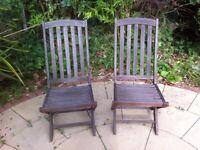 2 wooden teak garden chairs - oiled in spring