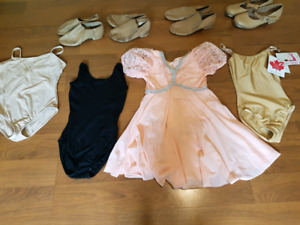 dance shoes, black and nude body suits and costumes