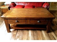 Solid wood large farmhouse coffee table.