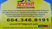 ACCENT GUTTERS & ROOFING.......ROOF repairs......GUTTER REPAIRS.