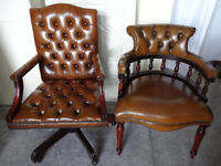 Brown Leather Chesterfield Gainsborough Directors Captains Swivel Office Chair