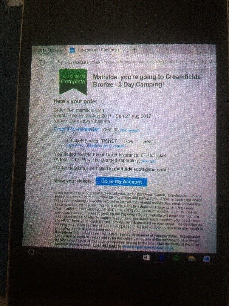3 day bronze creamfield ticket camping