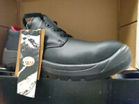 VTech V6401 Beaver Leather Safety Boots Black Size 10 Shoes Steel toe cap water resistant