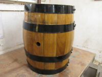 garden planter new oak 20 ltr barrel seating or cut a hole in top for a bey tree
