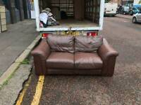 2 seater sofa in proper brown leather Hyde throughout