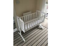 Kiddicare White Swinging Crib