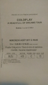 3x billet cold play (9aout 2017 montreal)