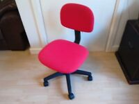 Chair for office or PC use,. Like New,. Red Height adjustive and on roller castors