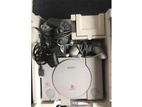 PS1 Console, Controllers and 2 Games in a Unit