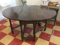 Solid Oak Antique Gateleg Table with drawer