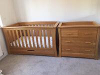 Mamas and Papas Oak Ocean Nursery Furniture Set - Cotbed, Wardrobe and Drawers