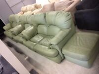 Green Leather 2 & 2 & 1 Suite + Footstool