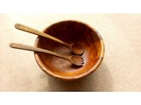 Beautiful Olive Wood Salad Bowl with matching servers