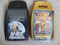 Top Trump cards, two sets - Space Phenomena and Ancient Egypt Tutankhamun