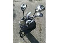 Set of carbon golf clubs with bag