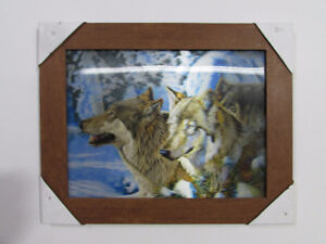 3D Wolf Illustration in the frame