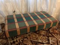 Vintage pouffe / ottoman / footstool with cushion