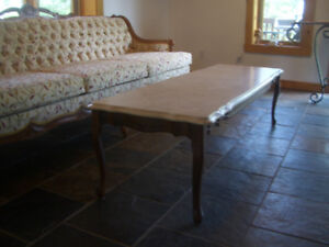 Vintage Marble Coffee Table and Matching Couch