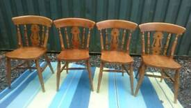 Fiddle back dining chairs x 4