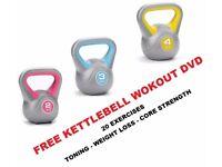 Kettlebell Set, Set of 3 Kettelbells, 2kg-3kg -4kg- Vinyl Kettlebell set Free DVD: NEW