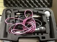 Microphones, 3 new with xlr cables & carry case. Collect or courier.