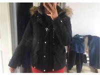 Topshop fur hood parka coat