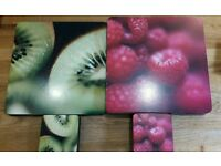 Raspberry and kiwi fruit placemats and coasters