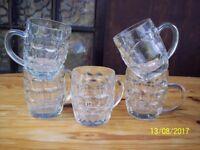 5 VINTAGE GLASS 1/2 PINT BEER MUGS