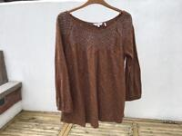 Fat Face Ladies Size 12 brown patterned smock top - used