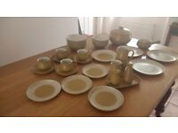 "Denby ""Ode"" pottery dinner set .Complete set for four including a casserole, soup terrine."