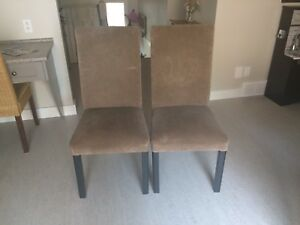 2 Brown Parsons Chairs