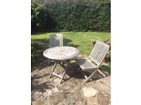'Alexander Rose' teak garden table and two chairs